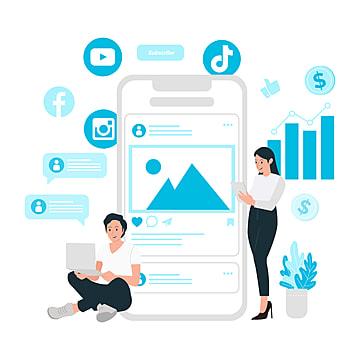 pngtree social media marketing strategy concept flat design png image 2306283